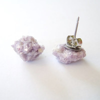 Rough Gemstone Stud Earrings - Lepidolite -Raw Stone Earrings - Mineral Jewelry