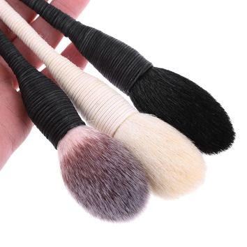 1 PC Pro Women Kabuki Flat Contour Blusher Powder Foundation Eye Shadow Face Makeup Brush Nature Goat Hair Cosmetic Tools