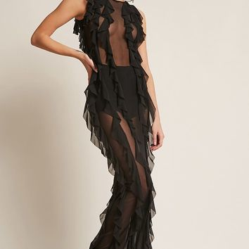 Kikiriki Sheer Mesh Ruffle Maxi Dress
