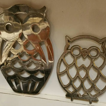 Vintage1960's Owl Trivets,Silver plate owl trivet by FB Rogers Italy, Cast Brass Footed,Taiwan.**Free Shipping**