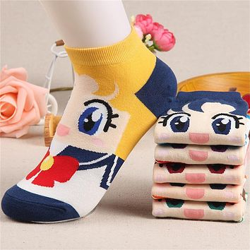 Woman Girl Spring Autumn Fashion Cute Boat Cotton Socks Gift 6 Colors Cartoon Sailor Moon Ship Female Cartoon Warm Sweet Lovely