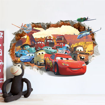 popular Cartoon cars child room wall stickers for kids room boy bedroom gifts wall decals 3D diy nursery window scenery poster