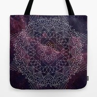 Burgundy Mandala tote bag - deep dark almost purple space with geometric mandala bag