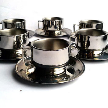 Set of six stainless steel espresso cups and saucers - Italian coffee cup set - Modern serving accessory - Inox cups - Italian housewares
