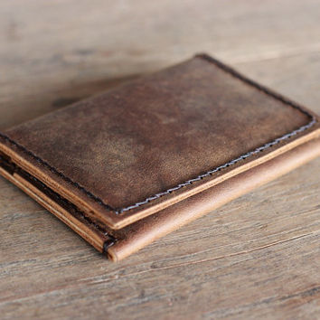 Dark Stitched Mens Leather Wallet Bifold - Ultra Slim Minimalist Rustic Design - JooJoobs Original - Mens Wallets
