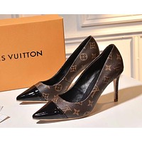 LV Louis Vuitton Women Sexy Pointed Toe Cap High Heels-Heeled Shoes Sandals Coffee Print
