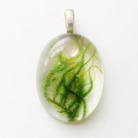Moss Resin Pendant, Real Green Moss in Clear Resin Jewelry