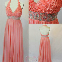 Custom 2013 Real Photo Halter Pink Ruffled Beaded Sequin Pleated Backless Formal Long Prom/Party/Homecoming/Cocktail/Bridesmaid Dress Gown