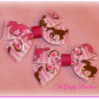 Cowgirl Pony Western ~ Clippie Pigtail Hair Bow Set ~ Hot Pink, Brown and White ~ Baby Hair Bows ~ Small Hair Bows ~ Cowgirl Bows ~ Horses