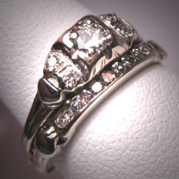 Antique Diamond Wedding Ring Set Vintage Art Deco Band