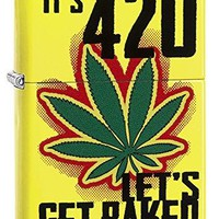 Zippo Custom Lighter: Weed Leaf, It's 4:20 Let's Get Baked - Neon Yellow 79017
