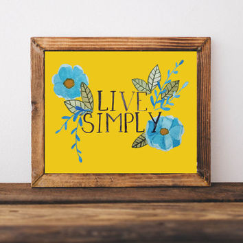 live simple, yellow wall art, apartment wall art, gallery wall art, wall art prints, watercolor prints art prints