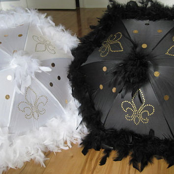 "Bride and Groom Second Line Umbrellas- set of 2 umbrellas- MEDIUM 14"" size- GOLD ACCENTS- hand painted fleur de lis, sequins and boa"