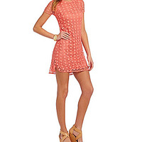 B. Darlin Short Sleeve Lace Shift Dress - Coral/Coral