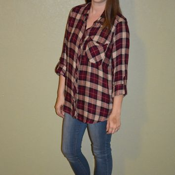 Into the Plaid Button Up Top
