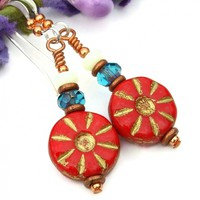 Red Flower Earrings, Czech Glass Teal White Opal Handmade Jewelry Gift