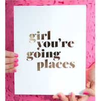 Going Places Print, Gold Foil
