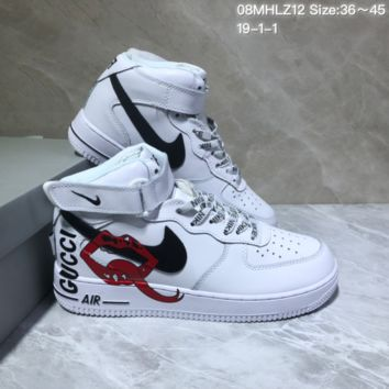 KUYOU N896 Nike Air Force 1 AF1 x Gucci x Rolling Stones Velcro Mid Fashion Skate Shoes White