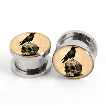 Pair of Vintage Skull Birds plug gauges stainless steel screw fit ear plugs flesh tunnel ear expander SPP033