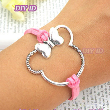 Mickey mouse bracelet minnie bracelet with pink color leather punk style bracelets wholesale jewelry B268