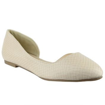 Womens Ballet Flats Snake Print Pointed Toe Slip On Dress Shoes Nude