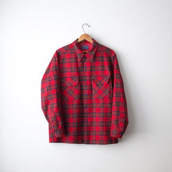 Men's Red Pendleton Wool Flannel Shirt