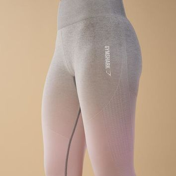 Gymshark Ombre Seamless Leggings - Light Grey/Chalk Pink