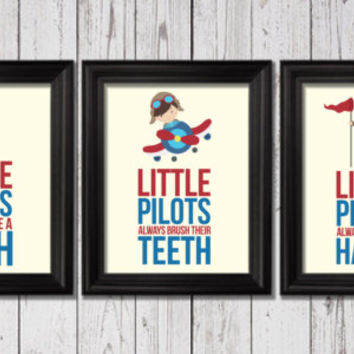 Little Pilots bathroom rules, Airplanes Decor, Word Art, Kids Wall Art, Airplanes Bathroom decor, Bathroom rules art, always wash, bathroom