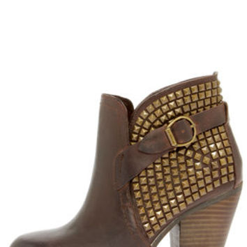 Steve Madden Alani Brown Leather Studded Ankle Boots