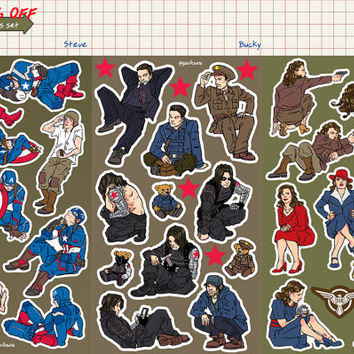 stickers PREORDER *sets 10% off* captain america, peggy carter, bucky barnes winter soldier vinyl kiss cut stickers stucky steggy