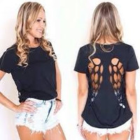 Angel Wing Cut Out Design T-Shirt