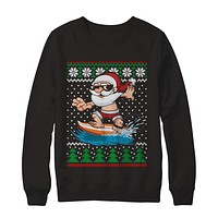 Santa Surfing Hawaiian Summer Christmas Ugly Sweater