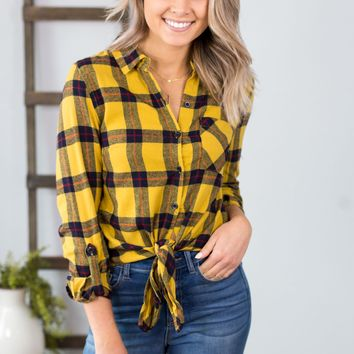 Knotted Plaid Flannel- Mustard
