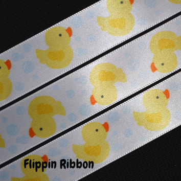 Yellow Rubber Ducky Ribbon, 3 Yards, 7/8 inch Satin
