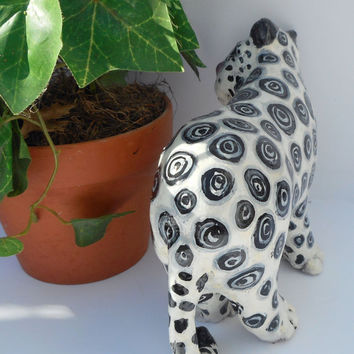 Whimsical Paper Mache Animal Sculptures - Lenny the Snow Leopard