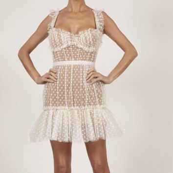 French Kiss Me White Mini Dress