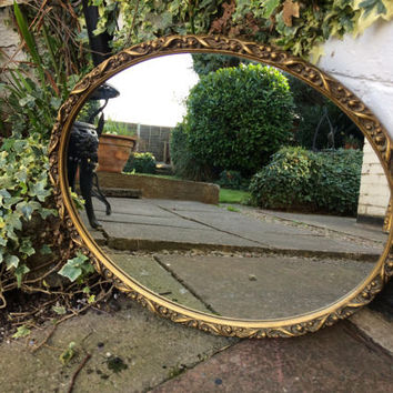 Gold ornate Antique mirror oval mirror vintage mirror