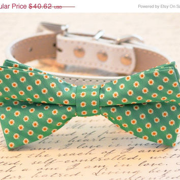 Green Dog Bow Tie - Bow tie with high quality leather collar, Cute Dog Bow tie, Green Wedding Accessory, Large Dog