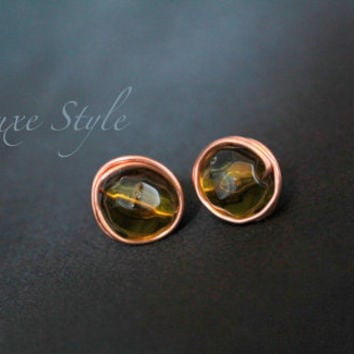 Post Ear Rings Stud Beaded Wire wrapped Copper Metal Jewelry Green Every day wear Handmade Luxe Style