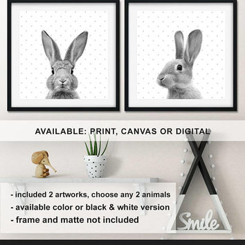 Bunny Nursery animal wall art, Rabbit Prints for Nursery, Bunny Kids wall decor, Bunny Baby room prints,  Rabbit decor Print/Canvas/Digital