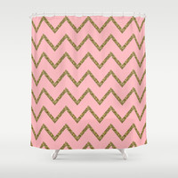 Gold & Pink Glitter Chevron Shower Curtain by Stay Inspired | Society6