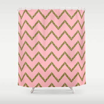 pink and gold shower curtain. Gold  Pink Glitter Chevron Shower Curtain by Stay Inspired Society6 Best And Products on Wanelo