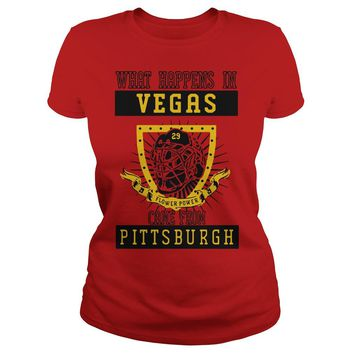 What happens In Vegas flower power came from Pittsburgh shirt Ladies Tee