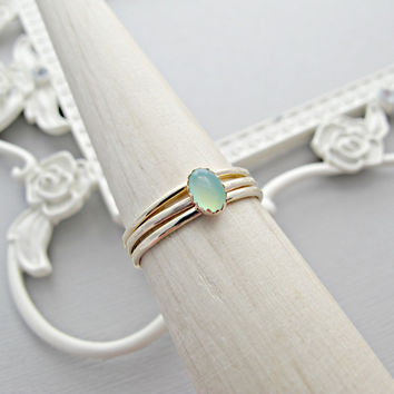 14k Gold Ring SET, Gold Engagement Ring, Oval Gemstone Ring, Anniversary Ring, Engagement Ring Set, 14kt Gold Ring, Green Chrysoprase, Mint
