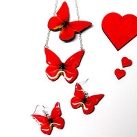 Jewelry set, Butterfly necklace, Butterfly earrings, Butterfly brooch, Red, Red butterfly, Valentine's day gift, Butterfly jewelry, Gift