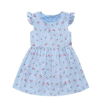 Baby Girls Cotton Summer Dress Zipper Short Sleeve Princess Birthday Party Dresses Toddler Print Clothing vestidos