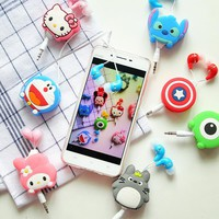 Lovely Mini 3.5mm Cartoon Earphone headphone headset earbuds retractable headphones For Samsung Xiaomi HTC MP3 MP4