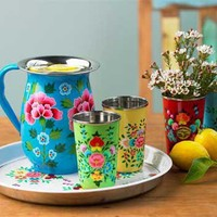 VivaTerra - Flowered Enamel Pitcher, Cups & Trap