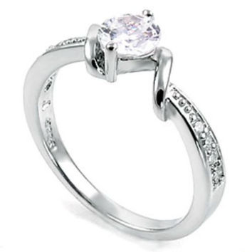 Sterling Silver CZ 1 carat Floating Engagement Ring size 5-9