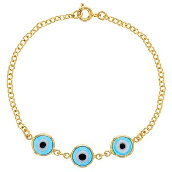 18k Gold Plated Light Blue Link Blue Turkish Evil Eye Protection Lady Bracelet 7""